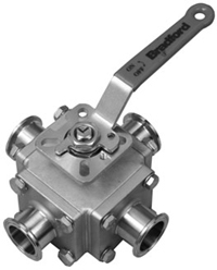 Multi-port 4-way Sanitary Stainless Steel Ball Valve